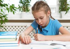 Girl doing her homework. Royalty Free Stock Photography
