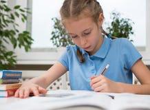 Girl doing her homework. Royalty Free Stock Images