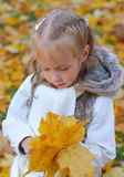 Little girl doing herbarium Royalty Free Stock Images
