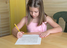 Little Girl Doing Homework Stock Photography