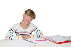 Little girl doing homework Royalty Free Stock Image
