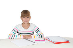 Little girl doing homework Royalty Free Stock Photos