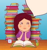 Little girl doing homework. Little girl dreams of lessons with books on background vector illustration