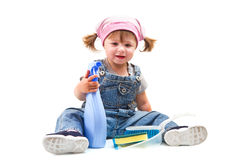 Little girl doing housework Royalty Free Stock Photos