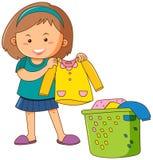 Little girl doing laundry. Illustration royalty free illustration