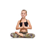 Little girl doing namaste Royalty Free Stock Photo