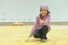 Little girl  doing repair at home Stock Photo