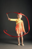 Little girl gymnastics with ribbon Royalty Free Stock Photo