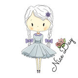 Little Girl Doll with Violet Bows. Vector fairy tail Illustration. Postcard Royalty Free Stock Image