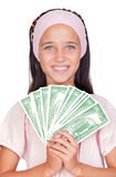 Little girl with with with dollar bills Royalty Free Stock Photo