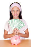 Little girl with with with dollar bills Stock Photography