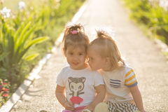 Little girl with Down syndrome playing with her girlfriend  on nature. Little girl with Down syndrome  playing with her girlfriend Royalty Free Stock Image