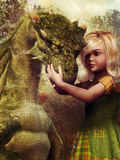 Little girl and a dragon Royalty Free Stock Images