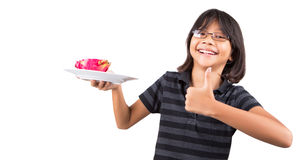 Little Girl and Dragonfruit IV Stock Photos