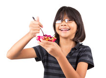 Little Girl and Dragonfruit VII Stock Images
