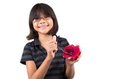 Little Girl and Dragonfruit VIII Royalty Free Stock Images