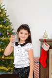 Little girl drank santa milk Royalty Free Stock Photography