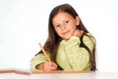 Little girl draw Royalty Free Stock Images