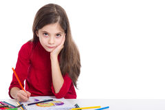 Little girl drawing Royalty Free Stock Images
