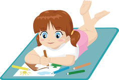Little girl drawing. Vector illustration of a little girl lying on the floor while drawing Royalty Free Stock Photos
