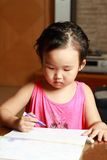 Little girl drawing Stock Image