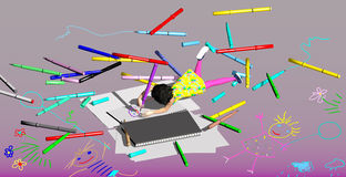 Little girl drawing with colorful pens. Little girl drawing on a pad with an over sized pen, among other over sized felt pens, over a purple background, 3D Royalty Free Stock Photo