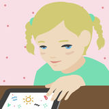 Little girl drawing on digital tablet illustration. Flat illustration of cute little smiling girl sitting at the desk in her room and drawing on digital tablet Stock Photography