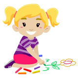 Little Girl Drawing a Flower using Chalk Stock Images