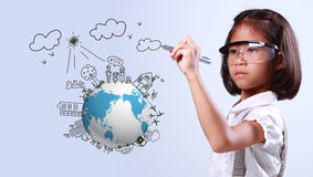 Little girl  drawing globe ecology Royalty Free Stock Photography