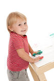 Little girl drawing with her hands Royalty Free Stock Image