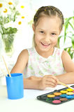 Little girl drawing at home Stock Photo