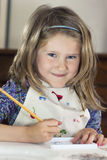 Little girl drawing paint Royalty Free Stock Photo