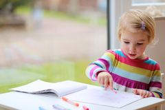 Little girl drawing on paper Royalty Free Stock Photos