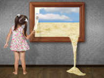Little girl drawing  picture. Little girl drawing picture, creative concept Royalty Free Stock Images