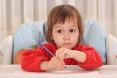 Little girl drawing Stock Photography