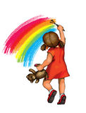 Little girl drawing rainbow Royalty Free Stock Photography