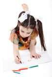 Little girl drawing. On white background stock photo