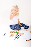 Little girl draws. Stock Photo