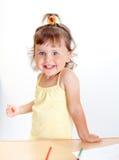 Little girl draws Royalty Free Stock Image
