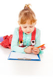The little girl draws Royalty Free Stock Images
