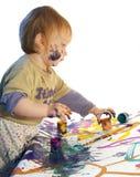 Little girl draws Stock Photography