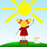 A little girl draws on blue sky a sun Stock Photos