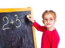Little girl draws on the board Royalty Free Stock Photo