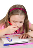 The little girl draws mother Stock Photography