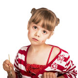 Little girl draws paints Royalty Free Stock Images