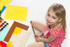 Little girl draws Royalty Free Stock Photo