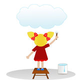 A little girl draws on  sky cloud Royalty Free Stock Images