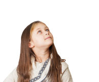 Little girl dreamily looking up Stock Photos