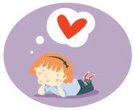 Little girl dreaming. Illustration of a little girl dreaming of love stock illustration