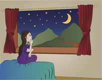 Little Girl Dreaming. A cartoon drawing of a little girl sitting at her window, gazing out and dreaming Royalty Free Stock Photo